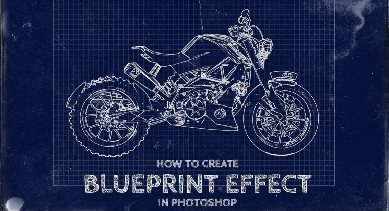 How To Transform Photos into Fake Blueprint Art Effect in Photoshop