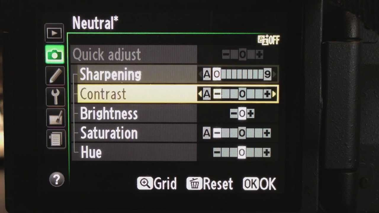 DSLR flat picture control settings