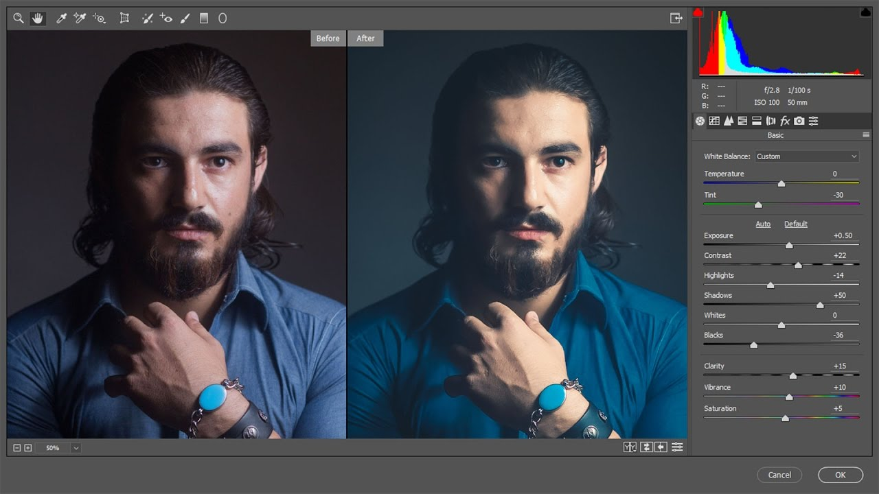 Edit Colors and Retouch a Male Headshot Portraits in Photoshop