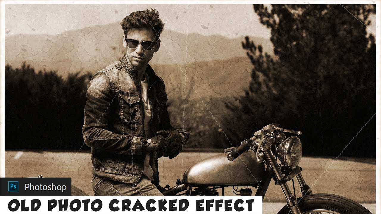 Old Photo Effect with Realistic Cracked Lines - Photoshop Action