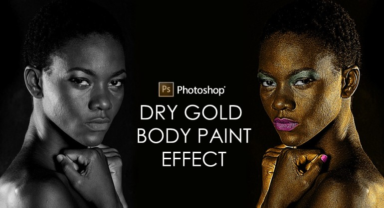 How to Apply Dry Gold Body Paint Effect to Person's Skin in Photoshop
