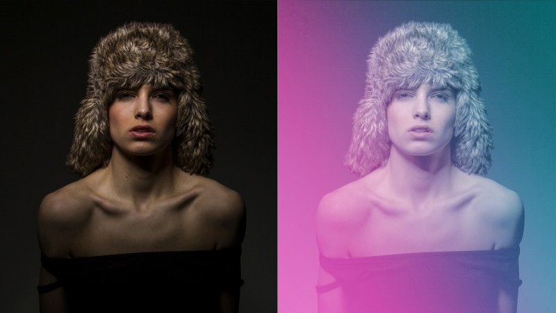 How to Create Colorful Gradient Overlay Effect in Photoshop - before and after