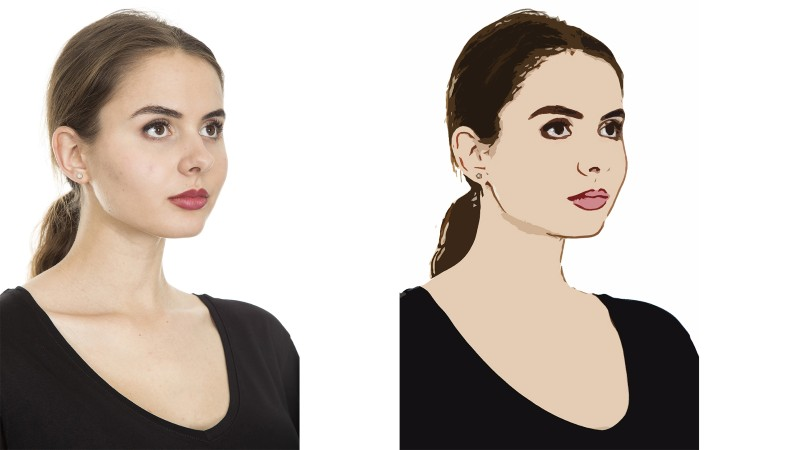 Before and after - How to Create Flat Cartoon Effect in Photoshop with Stamp Cutout Filter