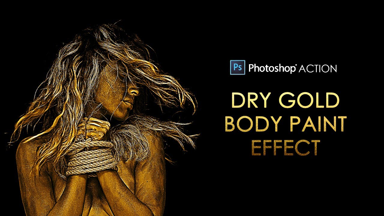 Photoshop Action: Dry Gold Body Paint Effect - Free Download