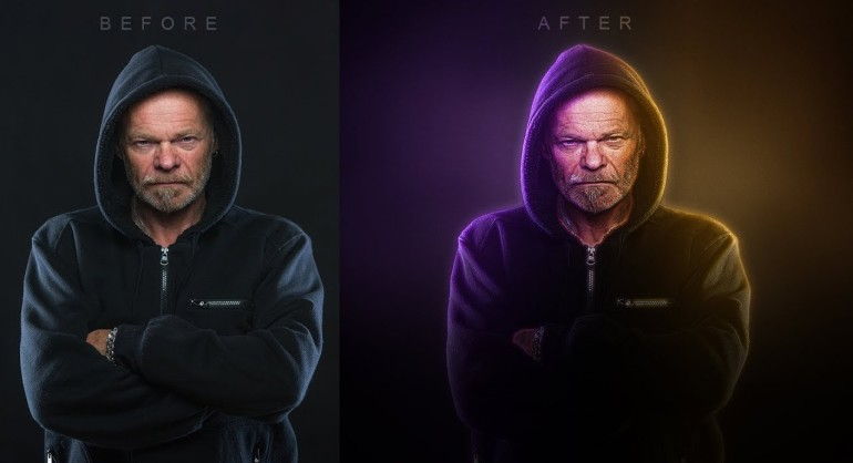 How to Create Dual Color Portrait Lighting Glowing Effect in Photoshop