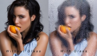Portrait Beauty Girl Behind Wet Glass Effect in Photoshop